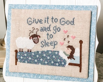 Christian Cross Stitch Pattern, Give it to God - Instant Download PDF - Featuring sleeping girl, bed, sheep, night, sleep, bedtime