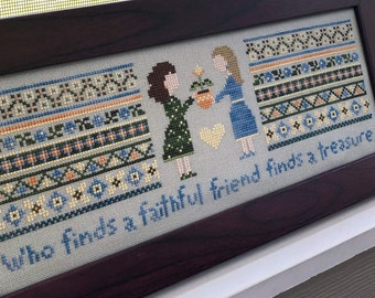 Friendship Cross Stitch Pattern, Faithful Friend - Instant Download PDF - Featuring a plant in a pot, two best friends, pretty colors