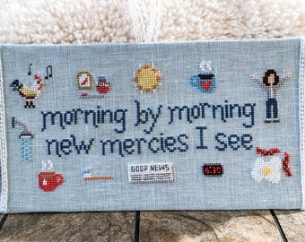 Christian Cross Stitch Pattern, Morning Mercies, Instant Download PDF - Inspired by the hymn Great is Thy Faithfulness