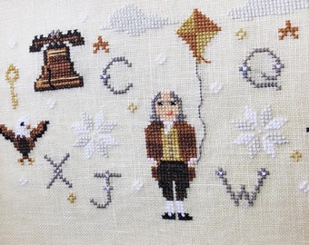 American History Cross Stitch Pattern, Franklin's Freedom - Instant Download PDF - Featuring Benjamin Franklin, Eagles, & the Liberty Bell