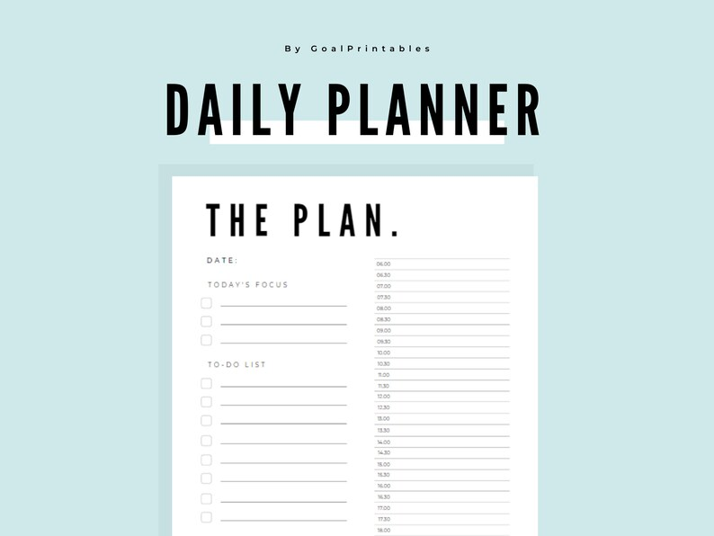 Minimalist Daily Planner Printable Goal Setting  A4 Size image 0