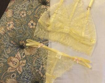 Yellow Lace Matching set- Bralette and Thong