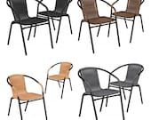 2 PACK Indoor or Outdoor Patio Stackable Dining Chair with Metal Frame and All Weather Rattan Seat and Back -Commercial Quality