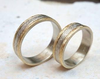 Mixedmetals wedding ring, Unusual wedding band, Mens wedding band, Unique engagement ring, Mixed metal solid wedding band