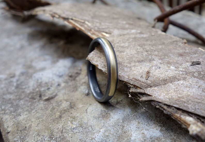 Simple mens ring Men unique oxidized silver wedding band with solid gold or copper Minimalist wedding band Men mixedmetals Band
