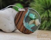 Wooden pendant round shape with dry flower and natural stone Turquoise,silver chain rhodium plated, eco friendly