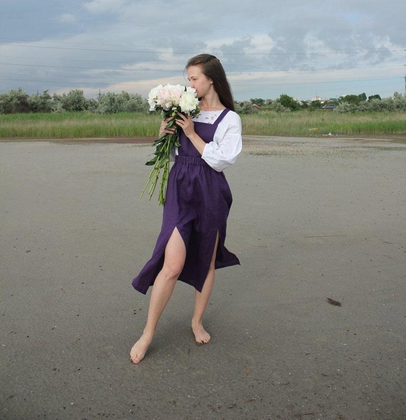Purple Linen Sundress + Skirt Cottagecore Clothing Plus Size