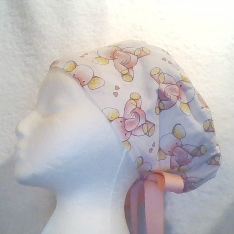 BABY PINK Elephant Nurse Doctor Tech Dentist Euro Tie Back Ponytail Surgical Scrub Cap order optional Mask Buttons from MAXCAPS site