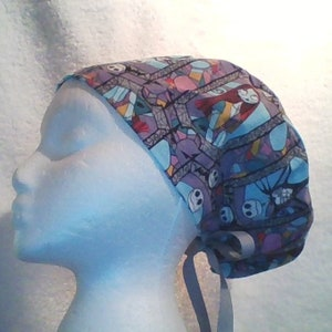 BEAUTIFUL BUTTERFLYS Nurse Doctor Tech Dentist Euro Tie Back  Ponytail Surgical Scrub Cap  order optional Mask Buttons from MAXCAPS site