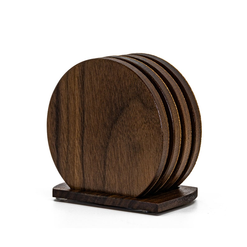 Wooden Coaster Set with Holder Handmade Walnut and Cork Coasters All Natural Wood /& Cork Coasters Gift Box Set