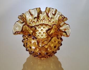 UNMARKED Amber Hobnail Double Crimp Top Vase