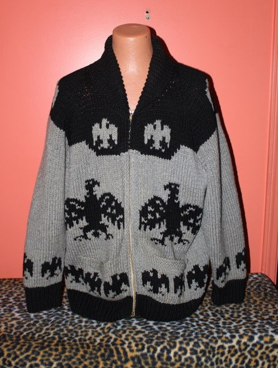 XL Vintage Sweater 1950s Eagle Cowichan Native Ame