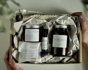 Ultimate RELAXING Gift Set- Spa Gift Set - Natural  Soap - Soy candle - Handmade Cold Pressed Soap -vegan - bath salts - Mother's Day