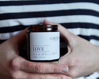 LOVE candle - 100% soy candle - aromatherapy candle - self care - home spa - oriental candle- Pomegranate + Jasmin + pink peppercorns