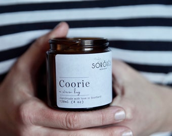COORIE, Scottish gift, Hand Poured Soy Candle | 100% Soy, Clean Burning Candle, Added Essential Oils, Amber Jar Candles, Citronella
