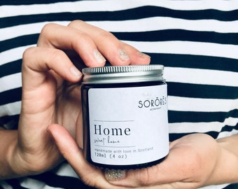 Home Sweet home, Hand Poured Soy Candle | 100% Soy, Clean Burning Candle, Added Essential Oils, Amber Jar Candles, New home