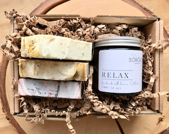 Self Care Kit- Spa Gift Set- gift set- birthday gift- relaxation - Soy candle - Handmade Cold Pressed Soap -vegan - soap bundle - Birthday
