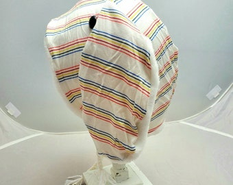 White Rainbow Stripe Bunny Rabbit Fall Fashion Custom Animal OOAK Upcycled Sweater Hat
