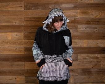 Sweater Fairy Pixie OOAK Fall Fashion Black and White Geometric Polka Dot Hooded Custom Animal Ear Hoodie