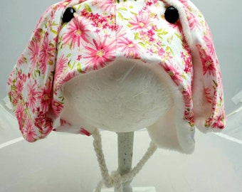 White Bright Pink Floral Bunny Rabbit Fall Fashion Custom Animal OOAK Upcycled Sweater Hat