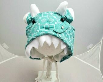 Geometric Turqouise White Pocket Motif Monster Dragon Teeth Ear Fall Fashion Custom Animal OOAK Upcycled Sweater Hat