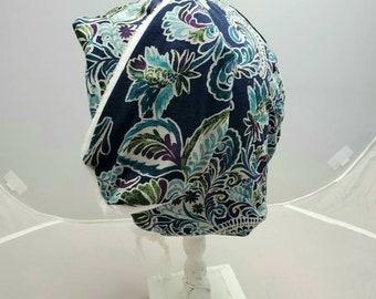Dark Blue Green White Paisley Motif Bunny Rabbit Fall Fashion Custom Animal OOAK Upcycled Sweater Hat