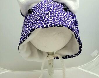 Purple Cheetah Print Wolf Cat Pointed Ear Fall Fashion Custom Animal OOAK Upcycled Sweater Hat