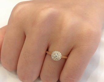 Round Center Engagement Ring With Halo InsertSimulated Diamonds On Four Prong RingFull Eternity Band In Sterling Silver