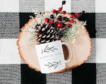 Tea towel flat lay styled mockup Christmas Farmhouse Tea Rag and mug Mockup,red and black plaid Kitchen