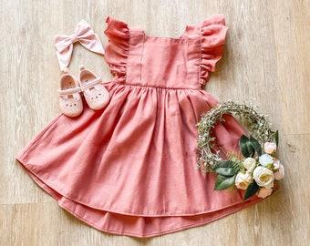 Linen Ruffle Dress, Toddler Pinafore, Girls Dress, Party dress,  Toddler Outfit, Toddler Dress, Summer Dress,  Photoshoot Dress, Vintage