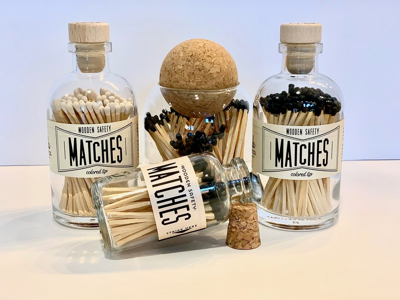 Small Wooden Safety Matches in Apothecary Jar image 1
