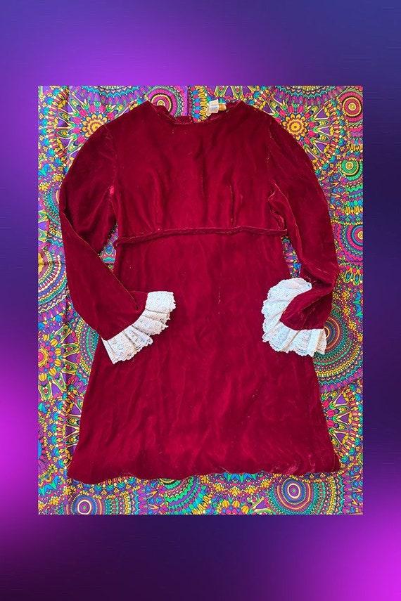Vintage 70s Red Velvet Mini Dress