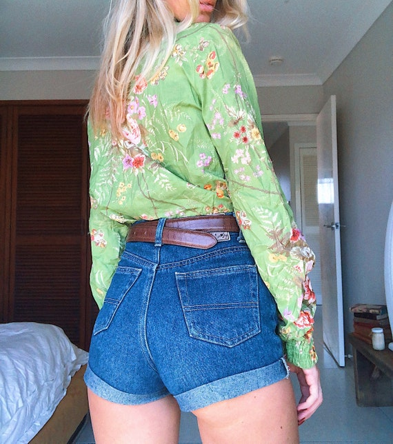 Vintage Green Cropped Blouse
