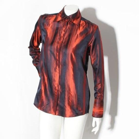 Gucci Button Down Silk Striped Blouse 1997 RTW Col