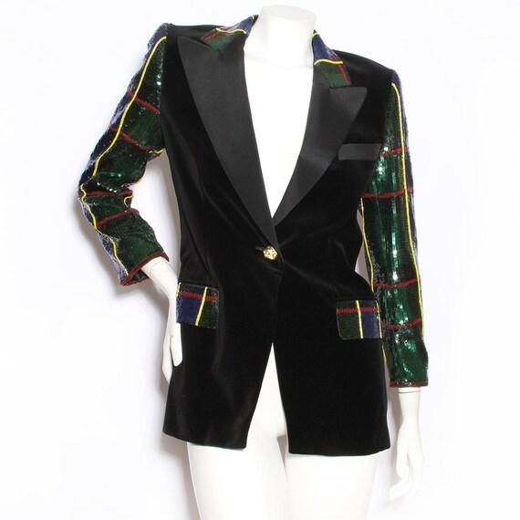 Escada Velvet & Sequin Jacket Circa 1990's - image 1
