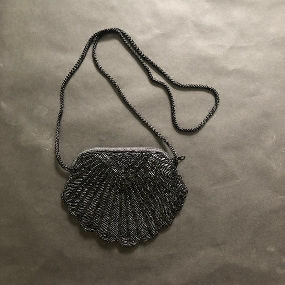 Mini Purse Vintage Beaded Black Shell Evening Bag