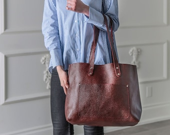Personalized Leather Tote Bag, Women's Leather Handbag Purse Monogram, Leather Anniversary Gifts For Women, Leather Tote With Zipper