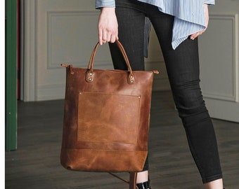 Leather Tote Bag for Women, Full Grain Leather Crossbody Bag Purse Handbag Fits MacBook Pro, Monogram Tote with Zipper, Gifts For Women
