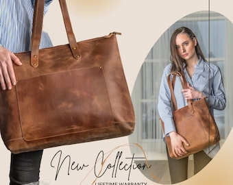 Leather Tote Bag, Personalized Full Grain Leather Tote With Zipper Option, Monogram Bag Purse Handbag For Women, Leather Anniversary Gifts