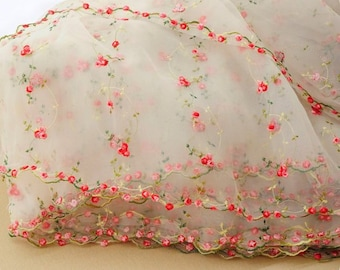"""3 Colors Lovely Lace Fabric Organza Fabric Red Rose Embroidery Flower Wedding Fabric 51.1"""" wide By The Yard"""