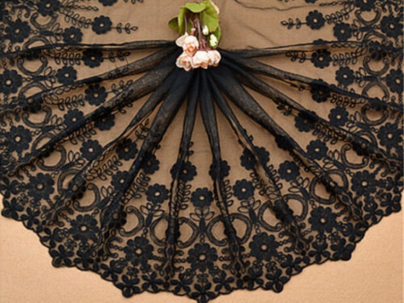 2 yard  Black Tulle Cotton Flower Embroidery Alice Venise Exquisite Lace Trim Floral Embroidery Wedding Lace 15.7 width