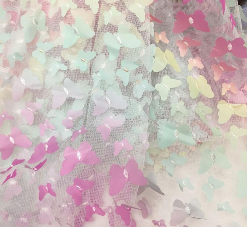 3D Rainbow Butterfly Lace fabric Gradient floral embroidery soft wedding lace bridal lace dress fabric veil lace 51 width by the yard