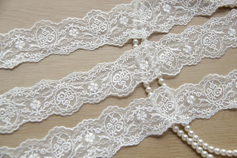 3 colors 2 yards Lace trim exquisite black white beige tulle cotton rose floral embroidery wedding lace bridal lace dress fabric 1.37 width