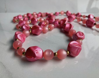 Vintage swirl multi-color lucite plastic beaded necklace nice gemstone imitation All colors lucite necklace