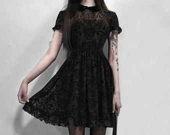Black Lace Goth Dress Gothic Elegant Dress Fit And Flare Witchy Goth Occult Pattern Dress Vampire Cosplay Costume Dark Gift EGirl Emo Cute
