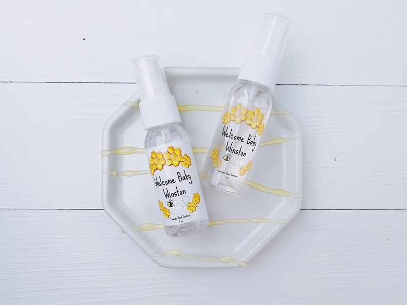 Honey Bee Hand Sanitizer Labels and bottles  Baby Shower Favors  Stickers  Party Favors  Honeycomb theme