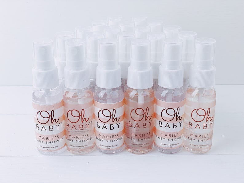 Oh Baby Blue and Pink Hand Sanitizer Labels and bottles  Baby Shower Favors  Stickers  Party Favors  Stripes