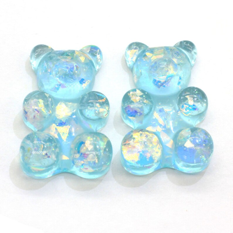 New Arrival 30mm Tall Glitter Resin Mixed Color Gummy Bear Charms For Making Jewelry DIY wholesale