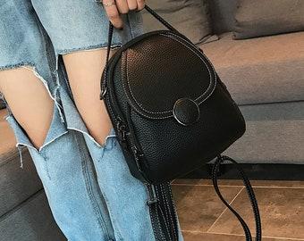 mini backpack purse, women mini backpack, alt mini backpack, Small travel Purse, small leather backpack for women, kawaii mini backpack