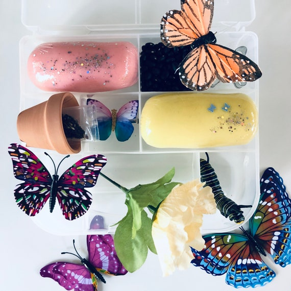 Spring Playdough box/ butterfly/ butterfly kisses / spring